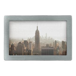 New York Skyline - dusk - grey Belt Buckle