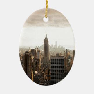 New York Skyline - dusk - grey Christmas Ornament