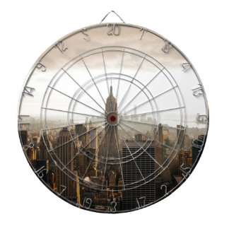 New York Skyline - dusk - grey Dartboard