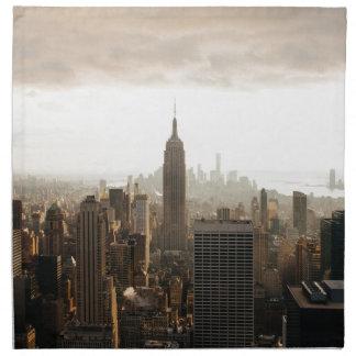 New York Skyline - dusk - grey Napkin