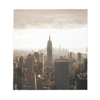 New York Skyline - dusk - grey Notepad