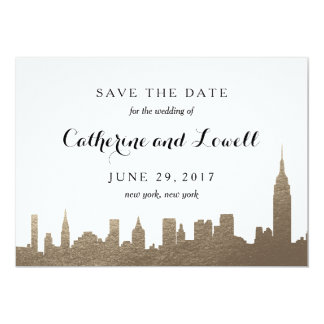 New York Skyline Faux Gold Save the Date Card