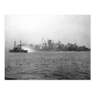 New York Skyline from Harbor, 1920 Post Card