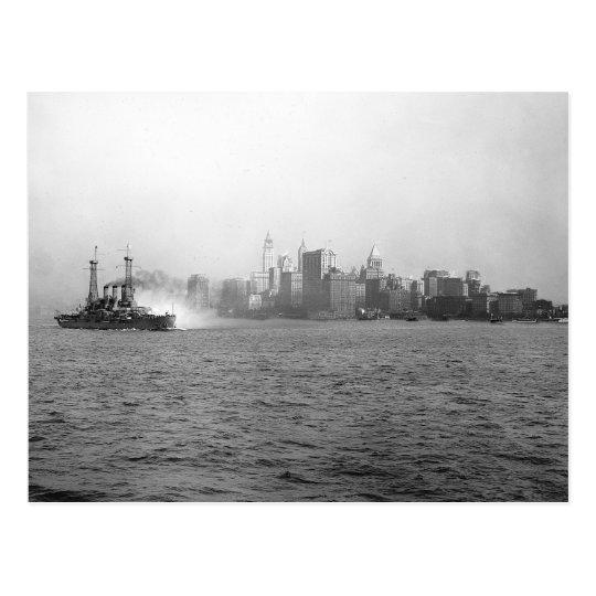 New York Skyline from Harbour, 1920 Postcard