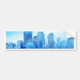 new york skyline iceblue bumper stickers