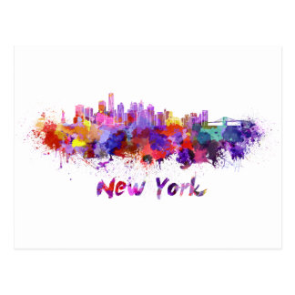 New York skyline in watercolor Postcard