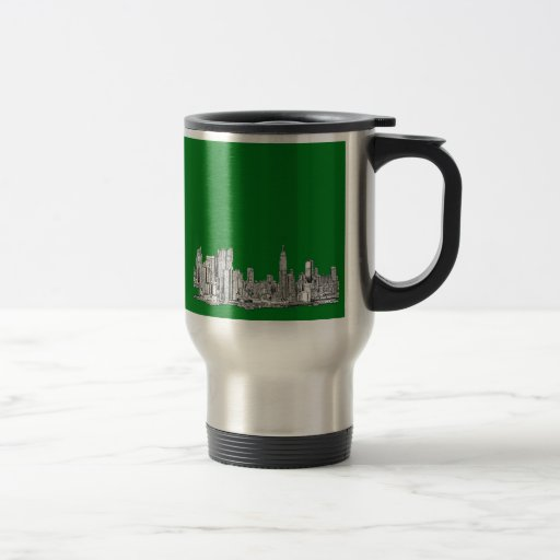 New York skyline ink in green Mug