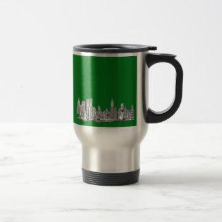 New York skyline ink in green Travel Mug