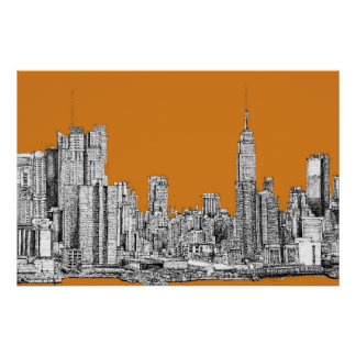 New York skyline orange Print