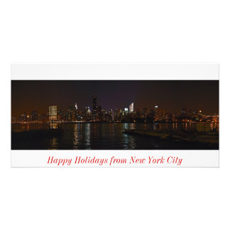 New York skyline photo Happy Holidays card Customised Photo Card