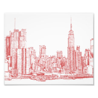 New York skyline pink red Photographic Print