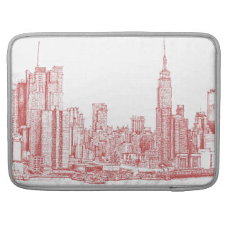 New York skyline pink red Sleeve For MacBook Pro