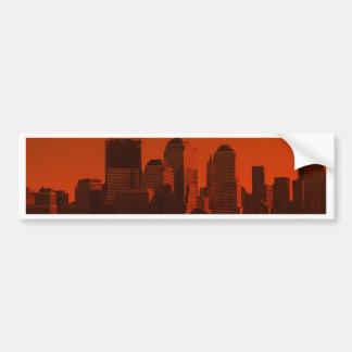 new york skyline red bumper sticker