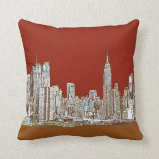 New York skyline red rust Cushion