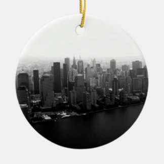 New York Skyline Round Ceramic Decoration