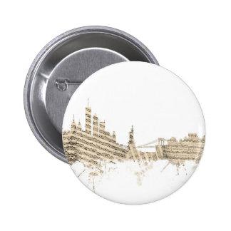 New York Skyline Sheet Music 6 Cm Round Badge