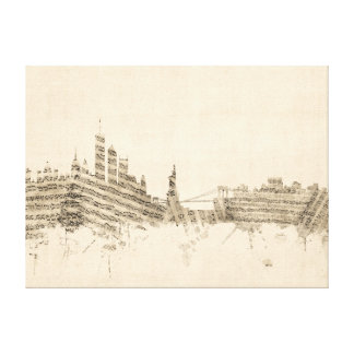 New York Skyline Sheet Music Cityscape Stretched Canvas Prints