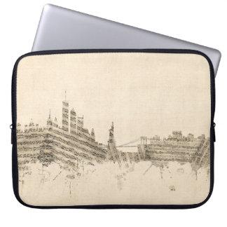 New York Skyline Sheet Music Cityscape Laptop Computer Sleeve