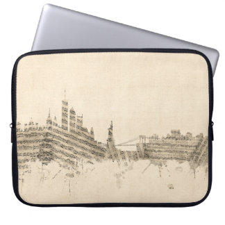 New York Skyline Sheet Music Cityscape Laptop Sleeve