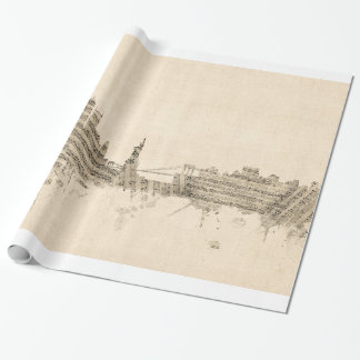 New York Skyline Sheet Music Cityscape Wrapping Paper