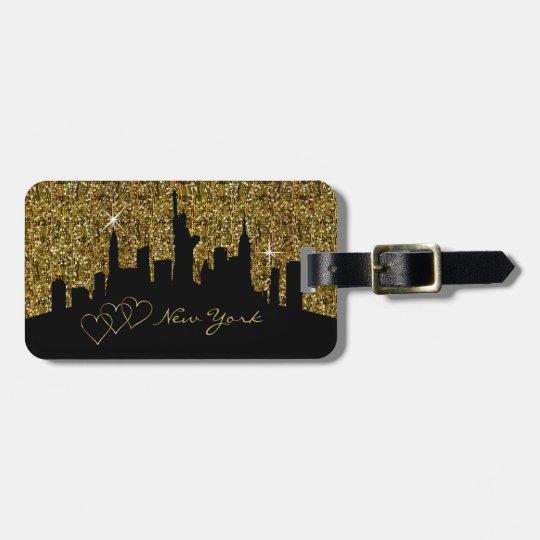New York Skyline Silhouette in Faux Gold Glitter