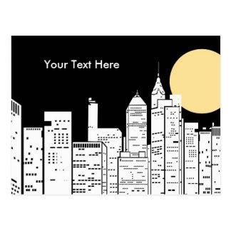 New York Skyline Silhouette Postcard