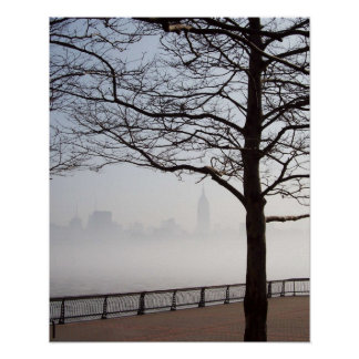 New York Skyline Silhouette through Tree Branches Poster