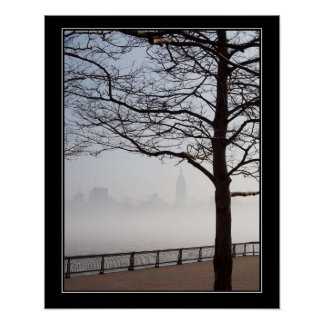 New York Skyline Silhouette Tree Branches border Poster
