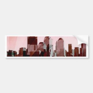 new york skyline soft pink bumper sticker
