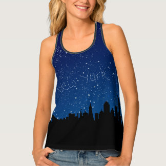 New York Skyline, Stars, Night Tank Top