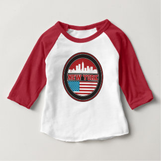 New York Skyline | United States Flag Baby T-Shirt