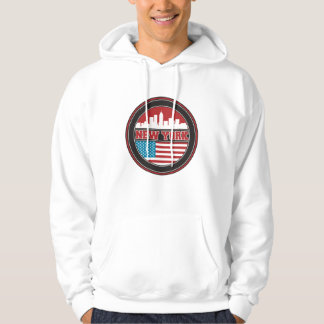 New York Skyline   United States Flag Hoodie