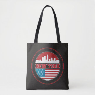 New York Skyline | United States Flag Tote Bag