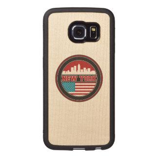 New York Skyline | United States Flag Wood Phone Case