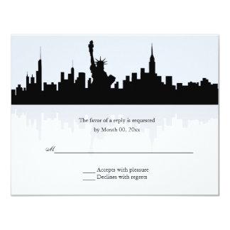 New York Skyline Wedding RSVP 11 Cm X 14 Cm Invitation Card