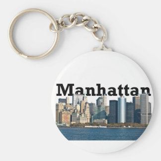 "New York skyline with ""Manhattan"" in the sky above Basic Round Button Key Ring"