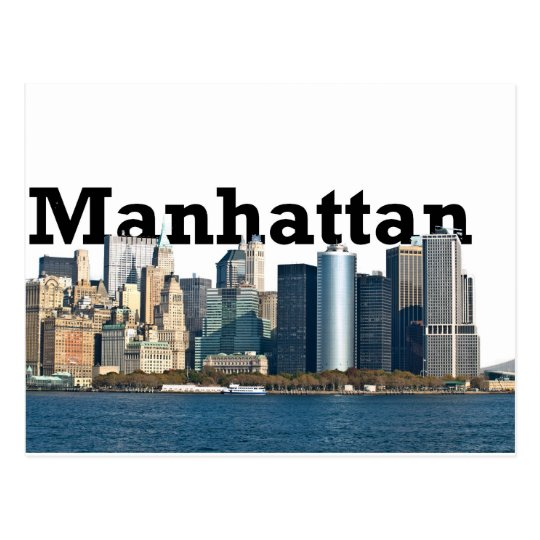 "New York skyline with ""Manhattan"" in the sky above Postcard"