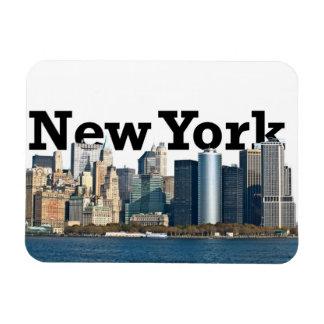 "New York skyline with ""New York"" in the sky Rectangular Photo Magnet"