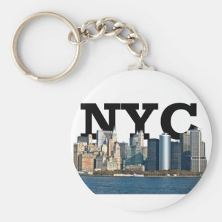 """New York skyline with """"NYC"""" in the sky above. Basic Round Button Key Ring"""
