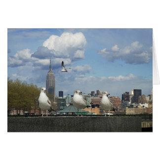 New York Skyline with Seagulls Greeting Card