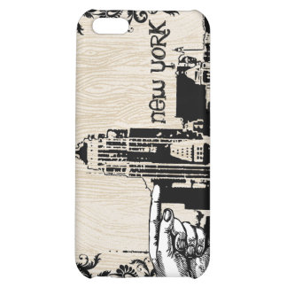 New York Skyline Wood Grain Damask iPhone Cover For iPhone 5C