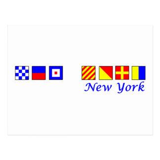 New York spelled in nautical flag alphabet Post Card