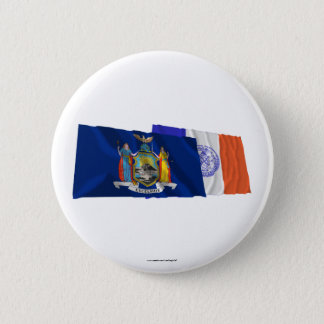 New York State and New York City Flags 6 Cm Round Badge