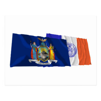 New York State and New York City Flags Postcard