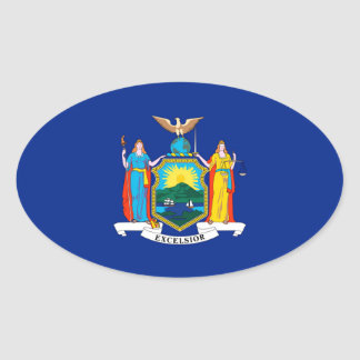 New York State Flag Design Oval Sticker