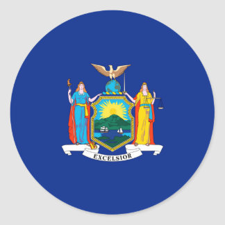 New York State Flag Design Round Sticker