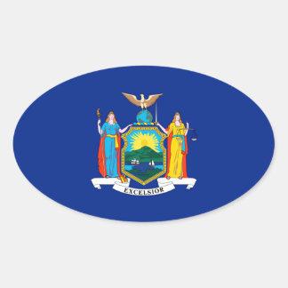 New York State Flag Design Oval Sticker