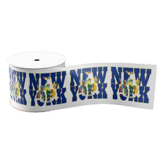 New York state flag typography design Grosgrain Ribbon