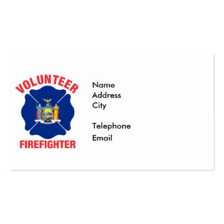 New York State Flag Volunteer Firefighter Cross Pack Of Standard Business Cards