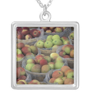 New York State Macintosh apples in baskets Silver Plated Necklace
